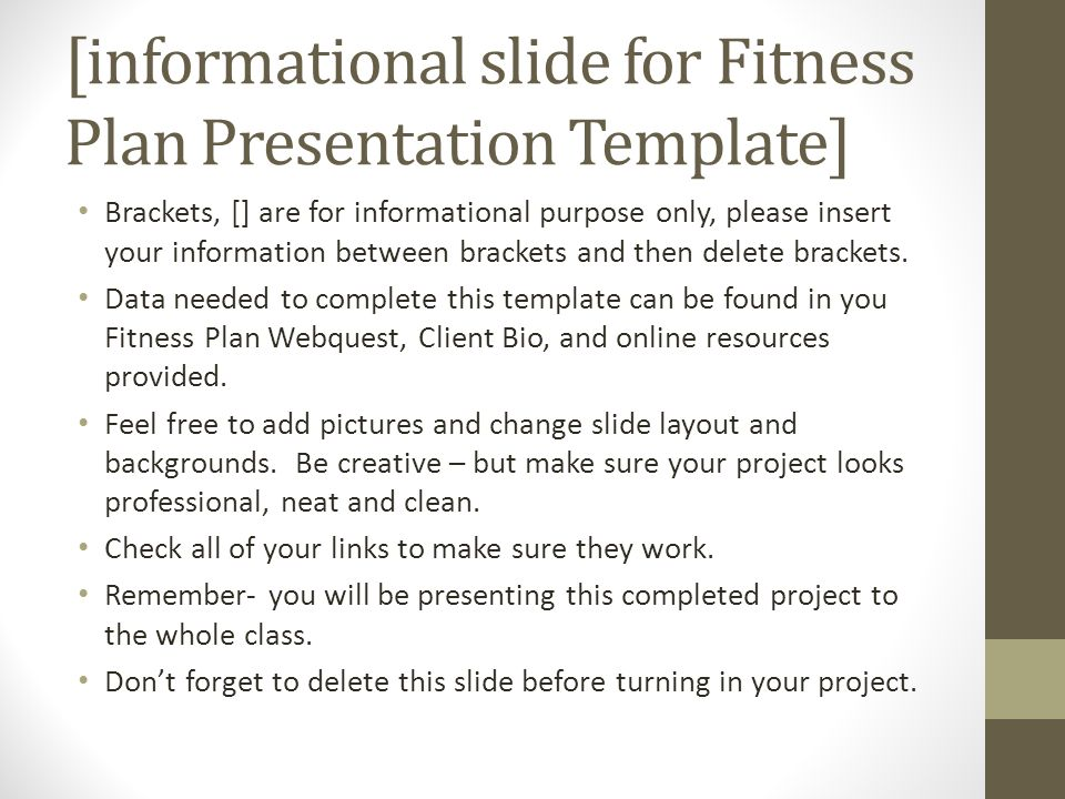 Informational Slide For Fitness Plan Presentation Template  Ppt